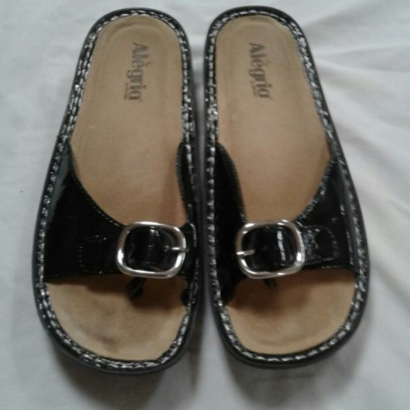 - Alegria Black Patent Thong Sandals women…